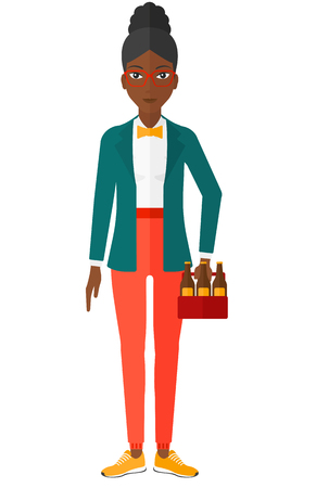 intoxicant: A woman holding a pack of beer in hand vector flat design illustration isolated on white background.