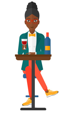 woman drinking wine: A woman sitting at bar and drinking wine vector flat design illustration isolated on white background.