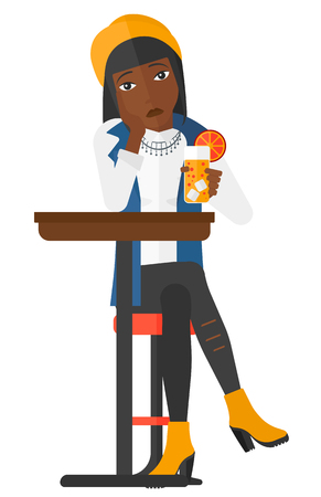 sad lonely girl: A sad woman sitting at bar with a glass of juice vector flat design illustration isolated on white background.