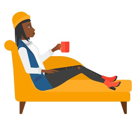 hot woman: A woman lying on sofa and holding a cup of hot flavored tea vector flat design illustration isolated on white background.