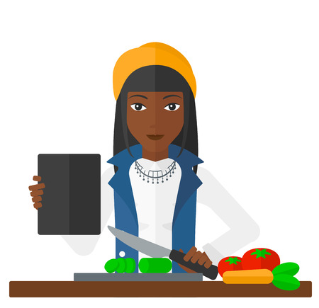 woman tablet: A woman holding a digital tablet and cutting vegetables on cutting board vector flat design illustration isolated on white background. Illustration