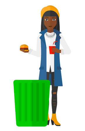 A woman putting junk food into a trash bin vector flat design illustration isolated on white background. Vettoriali