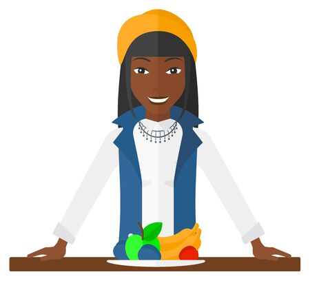 woman eating fruit: An excited woman standing in front of table full of organic healthy food vector flat design illustration isolated on white background.