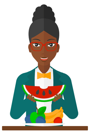 watermelon woman: An excited woman eating watermelon while standing in front of table full of organic healthy food vector flat design illustration isolated on white background.