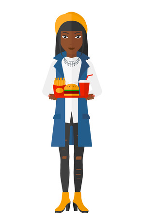 A woman holding a tray full of junk food vector flat design illustration isolated on white background. Illustration