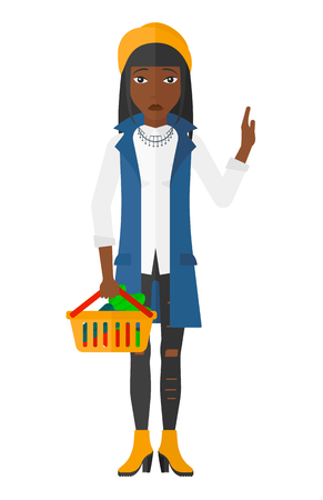 refusing: A woman holding a supermarket basket full of healthy food and refusing junk food vector flat design illustration isolated on white background.