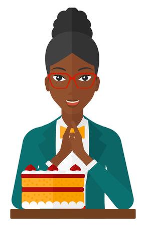 Een gelukkige vrouw aan de tafel zitten en kijken met passie op een grote taart vector platte ontwerp illustratie op een witte achtergrond.