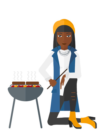 Woman sitting next to barbecue grill vector flat design illustration isolated on white background. Иллюстрация