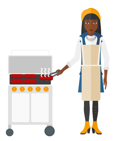 preparing: A woman preparing barbecue vector flat design illustration isolated on white background.