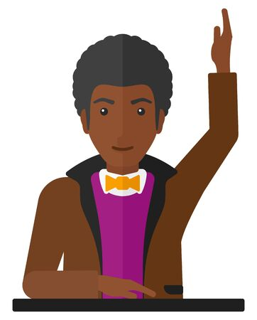 An african-american man raising his hand while sitting at the table vector flat design illustration isolated on white background.
