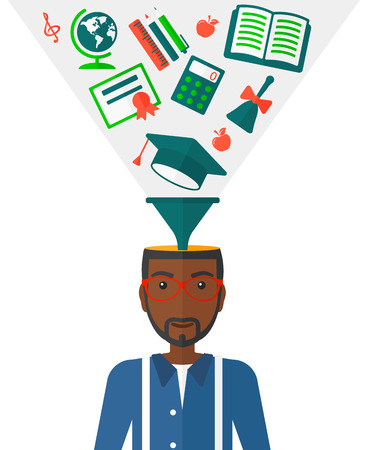 cognition: An african-american man with multiple icons above his head symbolizing knowledge vector flat design illustration isolated on white background.