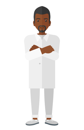medical science: Male laboratory assistant vector flat design illustration isolated on white background.