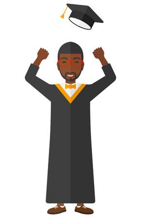 alumnus: Happy graduate throwing up his hat vector flat design illustration isolated on white background. Illustration