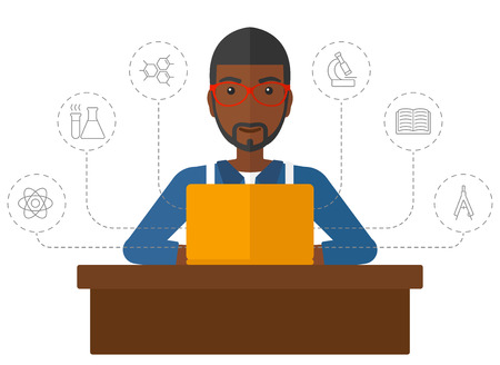 An african-american man sitting at the table and looking at the screen of laptop connected with icons of school sciences vector flat design illustration isolated on white background. Illustration
