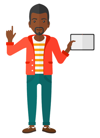 man pointing up: An african-american man standing with a tablet computer and pointing his forefinger up vector flat design illustration isolated on white background.