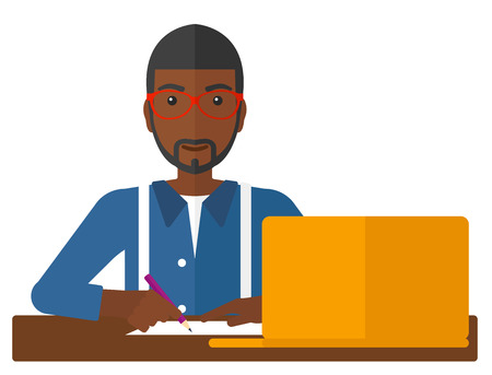 An african-american man sitting in front of laptop and taking some notes vector flat design illustration isolated on white background. Illustration