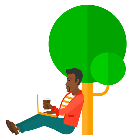 An african-american man with cup of coffee studying in park using a laptop vector flat design illustration isolated on white background. Illustration