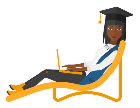 lying in: A woman in graduation cap lying in chaise long with laptop vector flat design illustration isolated on white background.