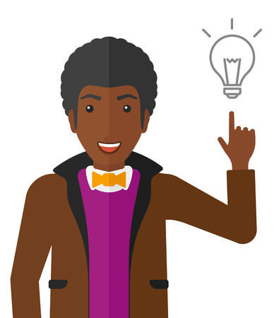 man pointing: An african-american man pointing a finger at the light bulb vector flat design illustration isolated on white background.