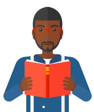 Een Afro-Amerikaanse man die een boek vector platte ontwerp illustratie op een witte achtergrond.