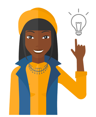 smart girl: A woman pointing a finger at the light bulb vector flat design illustration isolated on white background. Illustration