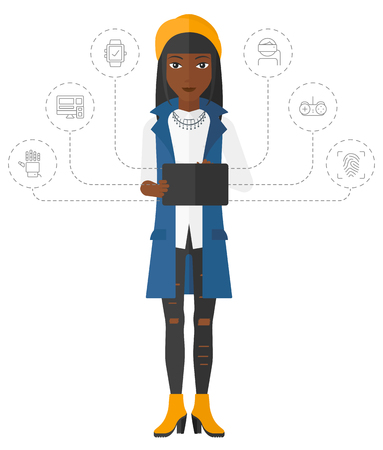 A woman standing with a tablet computer and some icons connected to the laptop vector flat design illustration isolated on white background.