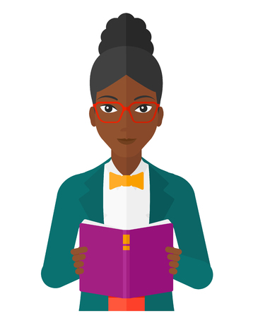 cartoon school girl: A woman reading a book vector flat design illustration isolated on white background.