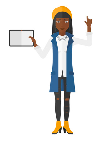 woman tablet: A woman standing with a tablet computer and pointing her forefinger up vector flat design illustration isolated on white background.