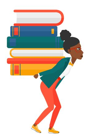 woman back: A woman carrying a pile of books on her back vector flat design illustration isolated on white background.