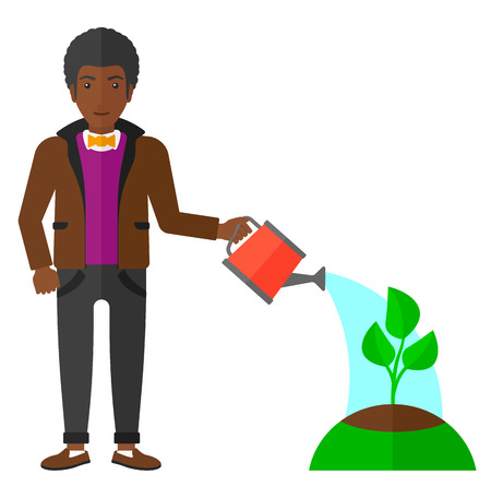 Young african-american man watering a tree vector flat design illustration isolated on white background.