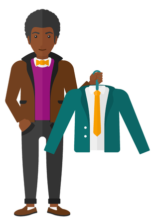choosing clothes: An african-american man holding in hand a hanger with a jacket  vector flat design illustration isolated on white background.