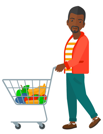 pushing: An african-american man pushing a supermarket cart with some goods in it vector flat design illustration isolated on white background.