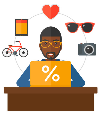 An african-american man sitting in front of laptop with some icons of goods around him vector flat design illustration isolated on white background. Illustration