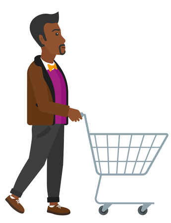 supermarket cart: An african-american man pushing an empty supermarket cart vector flat design illustration isolated on white background. Illustration
