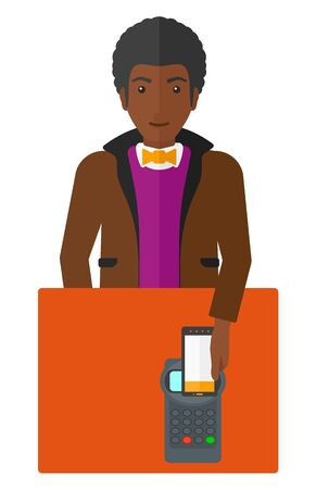 using smartphone: An african-american customer paying with his smartphone using terminal vector flat design illustration isolated on white background.