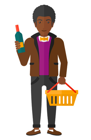 shopping champagne: An african-american man holding a shopping basket in one hand and a bottle of wine in another vector flat design illustration isolated on white background.