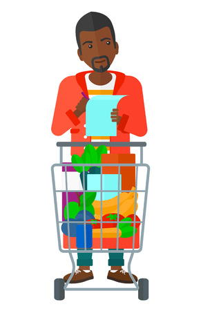 supermarket trolley: A thoughtful man standing with full supermarket trolley and holding a shopping list in hands vector flat design illustration isolated on white background.