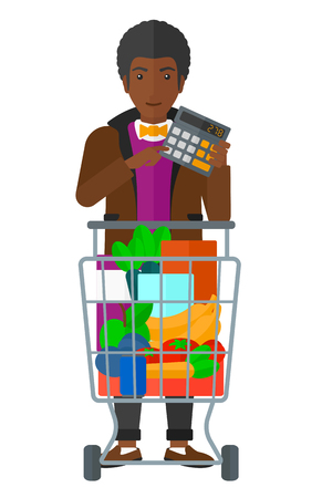 An african-american man standing near shopping cart and a calculator in hands vector flat design illustration isolated on white background.