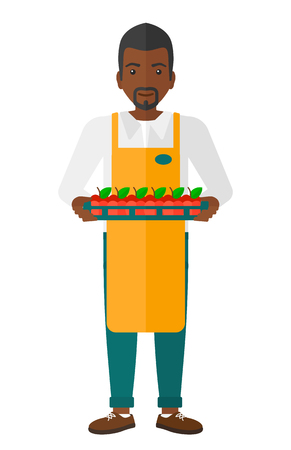 A surpermarket worker holding a box with apples vector flat design illustration isolated on white background.