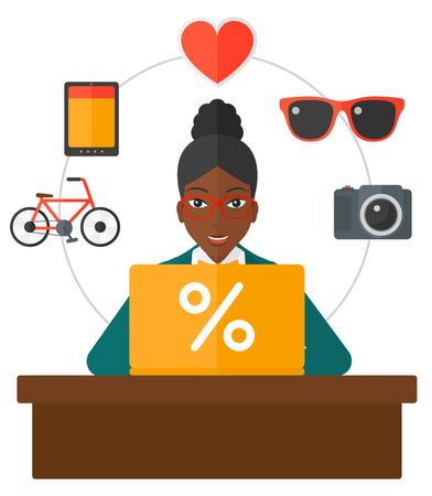 electronic commerce: An african-american woman sitting in front of laptop with some icons of goods around her vector flat design illustration isolated on white background.