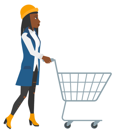 An african-american woman pushing an empty supermarket cart vector flat design illustration isolated on white background.
