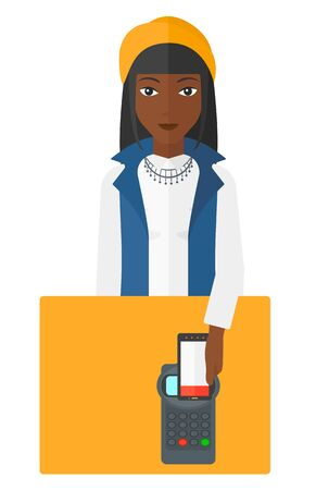 technology transaction: An african-american woman paying with her smartphone using terminal vector flat design illustration isolated on white background.