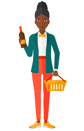 shopping champagne: An african-american woman holding a shopping basket in one hand and a bottle of wine in another vector flat design illustration isolated on white background. Illustration