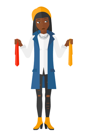 suspicious: An african-american woman holding two different neckties and trying to choose the best one vector flat design illustration isolated on white background. Illustration