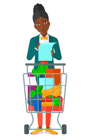 supermarket trolley: A thoughtful woman standing with full supermarket trolley and holding a shopping list in hands vector flat design illustration isolated on white background.