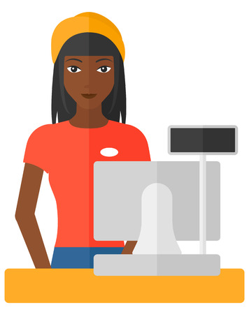 checkout: A saleslady standing at checkout vector flat design illustration isolated on white background.