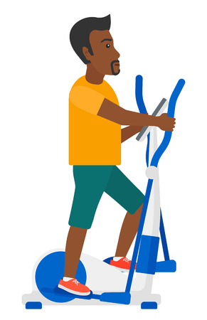 crosstrainer: An african-american man exercising on a elliptical machine vector flat design illustration isolated on white background.