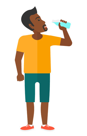 man drinking water: A sportive african-american man drinking water vector flat design illustration isolated on white background.