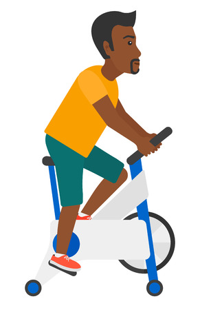 An african-american man exercising on stationary training bicycle vector flat design illustration isolated on white background.