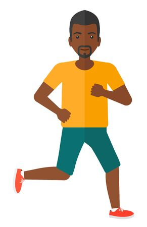 sportive: A sportive african-american man jogging vector flat design illustration isolated on white background.